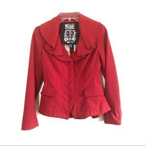 Anthro Millard Fillmore ruffle collar red blazer